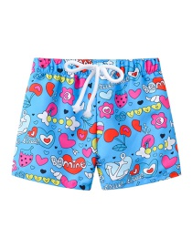 Fashion Blue Bottom Love Printed Lace-up Children's Beach Pants