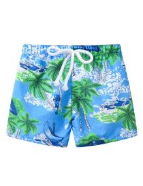 Fashion Light Blue Bottom Coconut Printed Lace-up Children's Beach Pants
