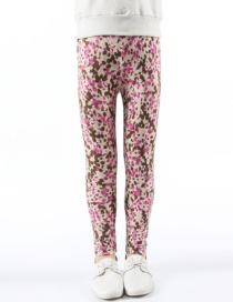 Fashion Pink Leopard Printed Milk Silk Children's Leggings