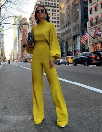 Fashion Yellow Solid Color Turtleneck Halter Trousers
