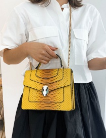 Fashion Yellow Serpentine Multilayer Cover Shoulder Crossbody Bag