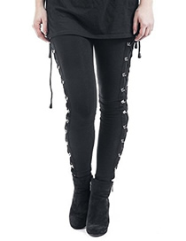Fashion Black Lace-up Pants
