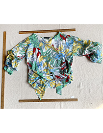 Fashion Printing Leaf Print And Blouse Top