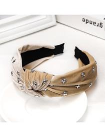 Fashion Beige Hot Diamonding Star Knotted Headband Hot Diamonding Stars Knotted Wide-neck Velvet Headband