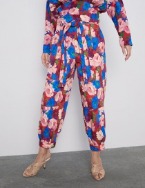 Fashion Color Belted Flower Print Pants