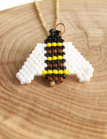 Fashion White Rice Beads Woven Bee Necklace