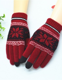 Fashion Jujube Red (black Touch Screen Finger) Snowflake And Velvet Jacquard Knit Touch Screen Finger Gloves