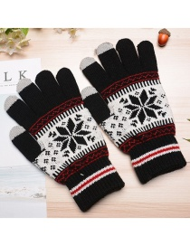 Fashion Black Plush Wool Knitted Snowflakes Finger Touch Screen Gloves