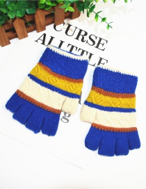 Fashion Royal Blue Thin Striped Knit Half Finger Gloves