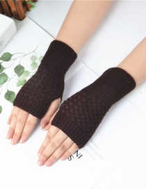 Fashion Brown Knitted Half Finger Gloves