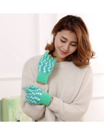 Fashion Green Touch Screen Wool Knit Gloves