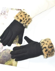 Fashion Yellow Leopard Print Raw Mouth Brushed Gloves