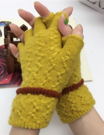 Fashion Yellow Half Finger Knit Touch Screen Gloves