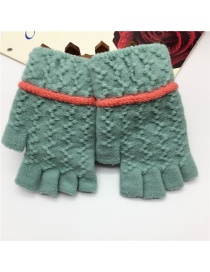 Fashion Mint Green Half Finger Knit Touch Screen Gloves