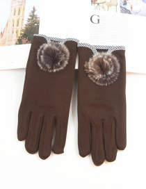 Fashion Brown Hair Ball Thin Brushed Five-finger Gloves