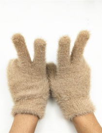 Fashion Khaki Plush Touch Screen Five-finger Gloves