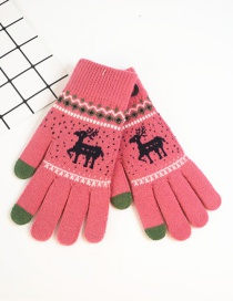 Fashion Rose Red Fawn Christmas Plus Velvet Touch Screen Knitted Woolen Gloves