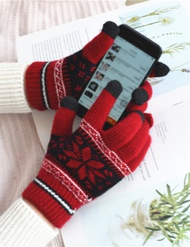 Fashion Red Snowflake Touch Screen Brushed Mittens