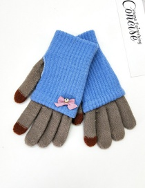 Fashion Sky Blue + Medium Gray Touch Screen Knit Wool Bow Double Layer Color Matching Gloves