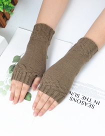 Fashion Khaki Half Finger Knit Gloves