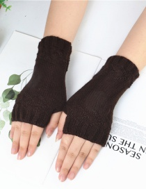 Fashion Brown Half Finger Knit Gloves