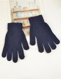 Fashion Upper Cyan Wool Touch Screen Plus Velvet Finger Gloves