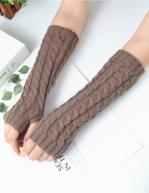 Fashion Khaki Twist Half Finger Knit Wool Arm Sleeve