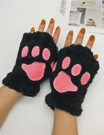 Fashion Black Cat Claw Plush Bear Paw Half Finger Gloves