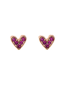 Fashion Red Alloy Diamond Heart Earrings