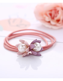 Fashion Pink Flower Pearl Hair Rope