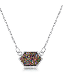 Fashion Silver + Purple Cluster Alloy Crystal Cluster Diamond Necklace