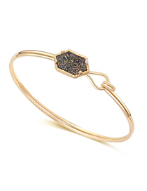 Fashion Gold + Purple Cluster Alloy Diamond Shaped Crystal Bracelet
