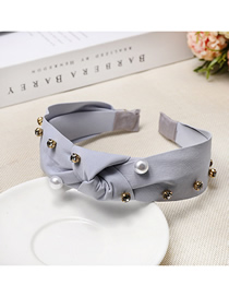 Fashion Gray Nail Drill Pearl Headband