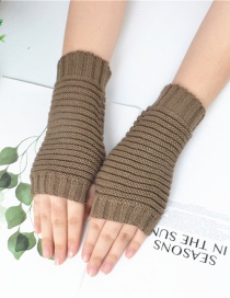 Fashion Khaki Pure Color Gloves