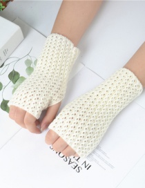 Fashion White Knitted Mesh Fingerless Short Gloves