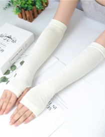 Fashion White Knitting Half Finger Polyester Cotton Thin Arm Sleeve