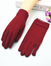 Fashion Red Wine Wide-brimmed Lace-brushed Five-finger Gloves