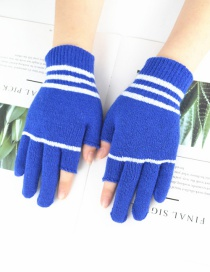 Fashion Blue Wool Dew Two-finger Gloves