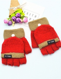 Fashion Red Letter Clap Color Matching Five-finger Gloves
