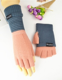 Fashion Dark Blue Powder Double-layer Two-knit Knitted Gloves