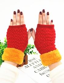 Fashion Red Plus Mouth And Velvet Half Finger Gloves
