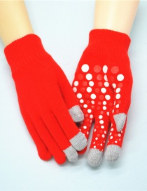 Fashion Red Touch Screen Single Layer Knitted Non-slip Rubber Gloves