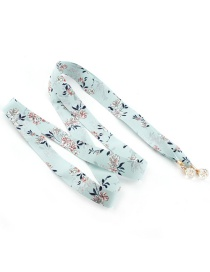 Fashion Light Green Floral Scarf Knotted Cloth Belt