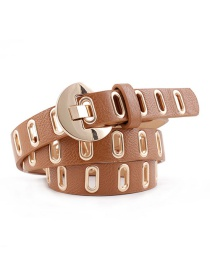 Fashion Camel Pu Leather Eyelet Belt