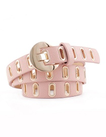 Fashion Pink Pu Leather Eyelet Belt