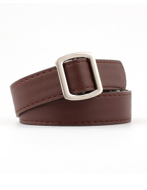 Fashion Coffee Non-porous Square Buckle Belt