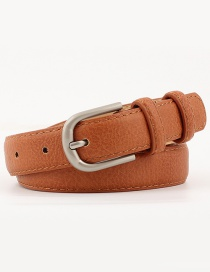 Fashion Camel Pure Color Decorated Pu Belt