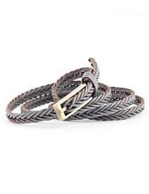 Fashion Gray Imported Leather Woven Belt