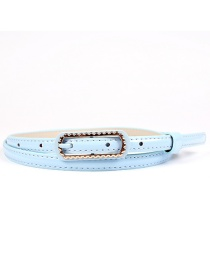Fashion Light Blue Patent Leather Faux Leather Buckle Belt