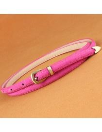 Fashion Rose Red Leather Belt